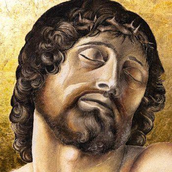 Cristo morto sorretto da due angeli, Bellini - particolare tecnica mista su foglia oro