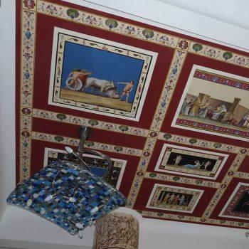Decorazione soffitto stampe su carta cotone e pittura acrilica