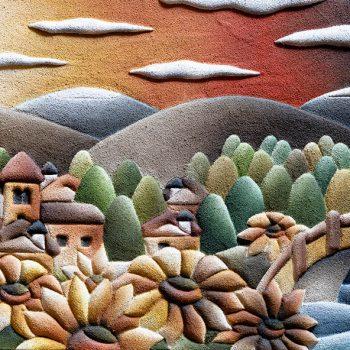Paesaggio con girasoli - Tecnica mista su legno intagliato