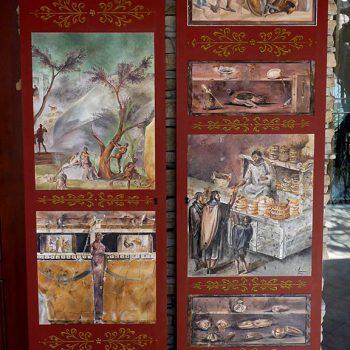 Pittura ad olio su tavola in legno riproduzione affreschi pompeiani