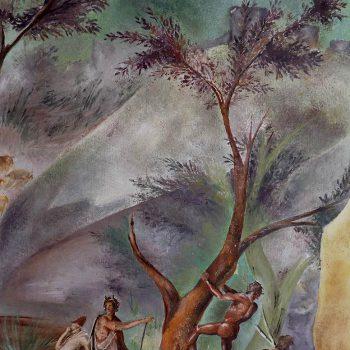 Pittura ad olio su tavola in legno riproduzione affresco pompeiano