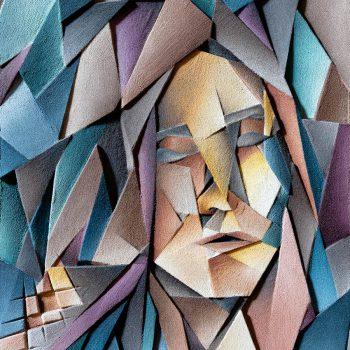 Ritratto di donna - Tecnica mista su legno intagliato