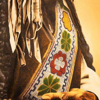Toro seduto - olio su tela - ritratto da foto d'epoca - particolare